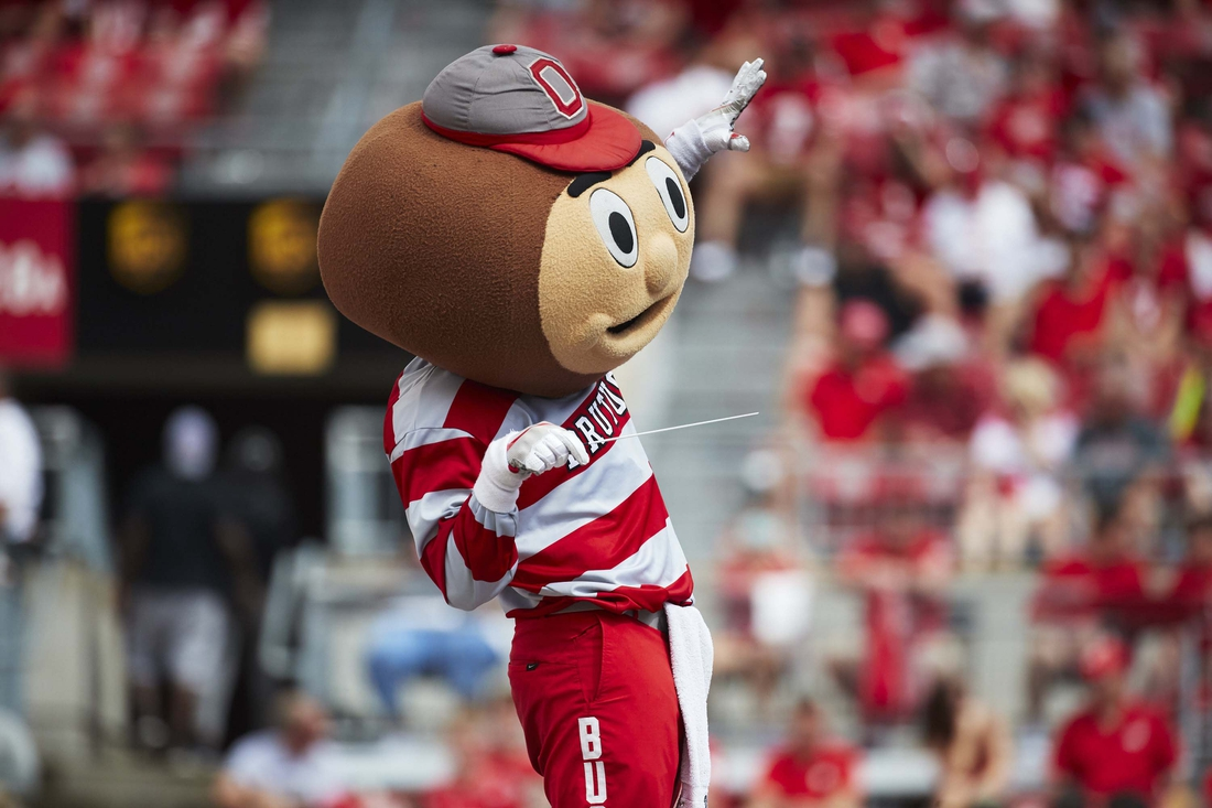 Sep 1, 2018; Columbus, OH, USA; Brutus Buckeye conducts the Ohio State Marching Band during the second half against the Oregon State Beavers at Ohio Stadium. Mandatory Credit: Rick Osentoski-USA TODAY Sports