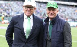 Oct 21, 2018; East Rutherford, NJ, USA; United States ambassador to the United Kingdom Woody Johnson (left) and his brother New York Jets CEO and chairman Christopher Johnson before a game against the Minnesota Vikings at MetLife Stadium. Mandatory Credit: Brad Penner-USA TODAY Sports