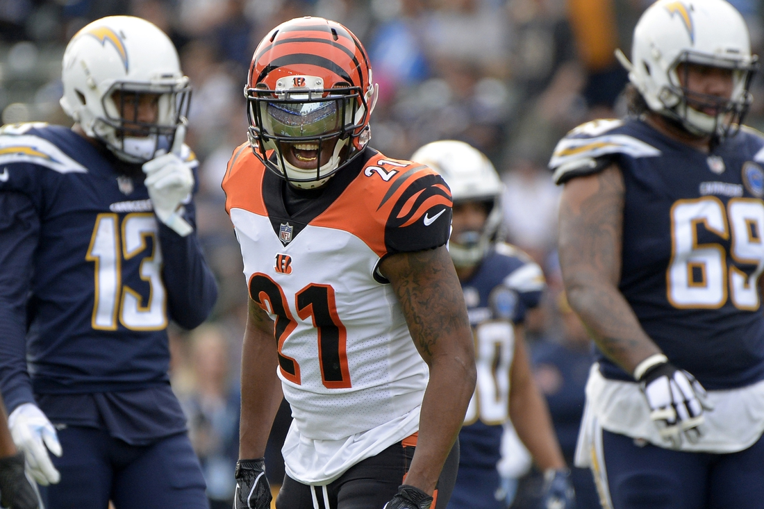 Dec 9, 2018; Carson, CA, USA; Cincinnati Bengals defensive back Darqueze Dennard (21) reacts during the second quarter against the Los Angeles Chargers at StubHub Center. Mandatory Credit: Jake Roth-USA TODAY Sports