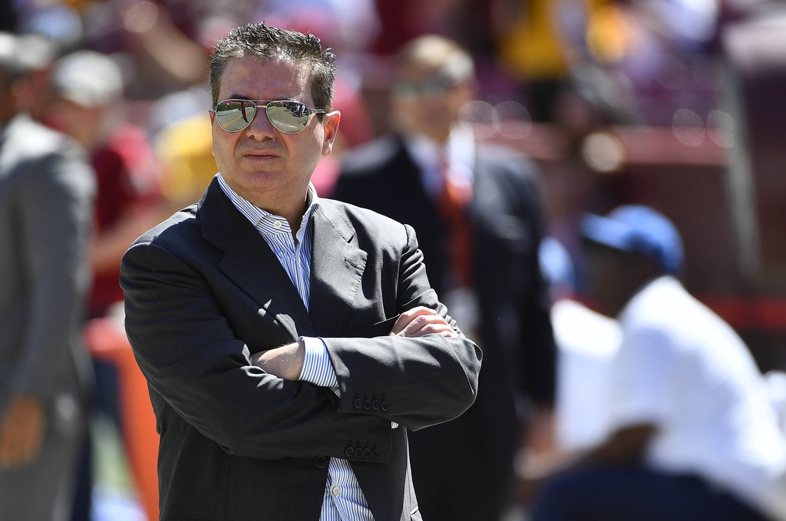 Sep 15, 2019; Landover, MD, USA; Washington NFL owner Daniel Snyder looks over the field before a game against the Dallas Cowboys at FedExField. Mandatory Credit: Brad Mills-USA TODAY Sports