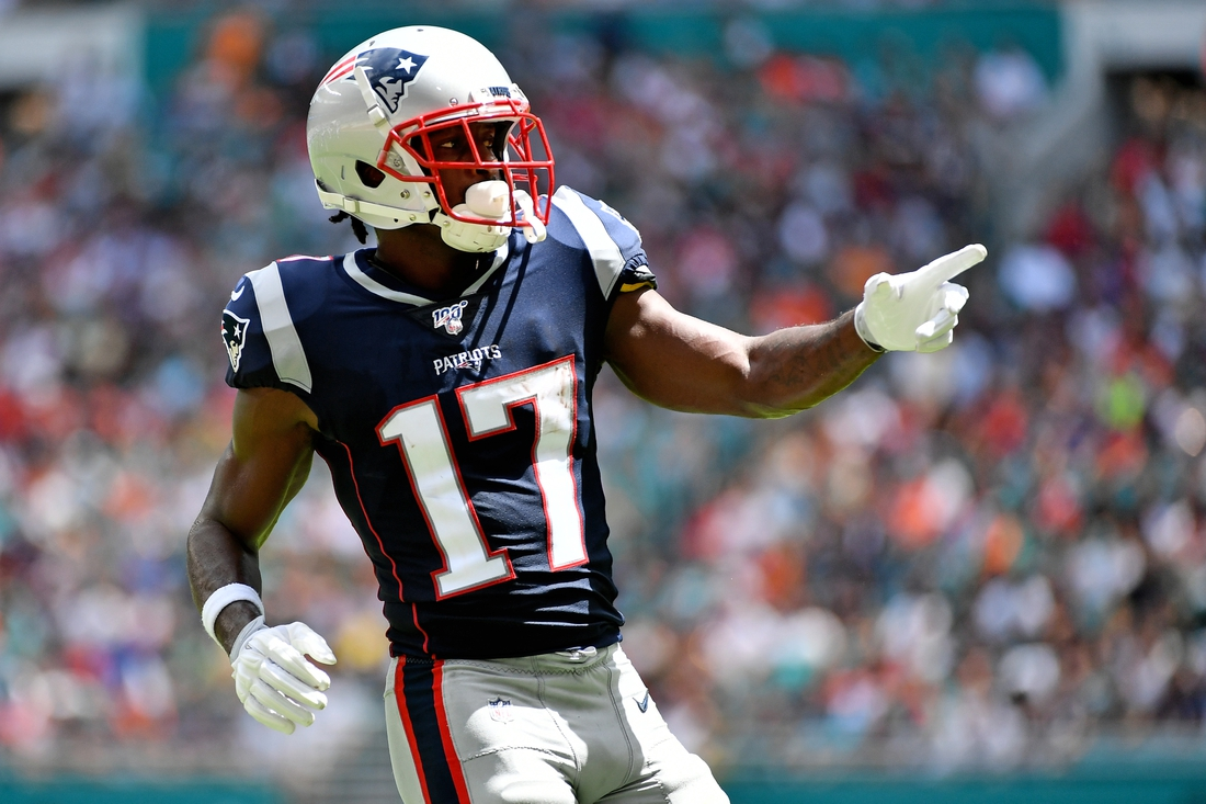 Sep 15, 2019; Miami Gardens, FL, USA; New England Patriots wide receiver Antonio Brown (17) lines up during the first half against the Miami Dolphins at Hard Rock Stadium. Mandatory Credit: Jasen Vinlove-USA TODAY Sports