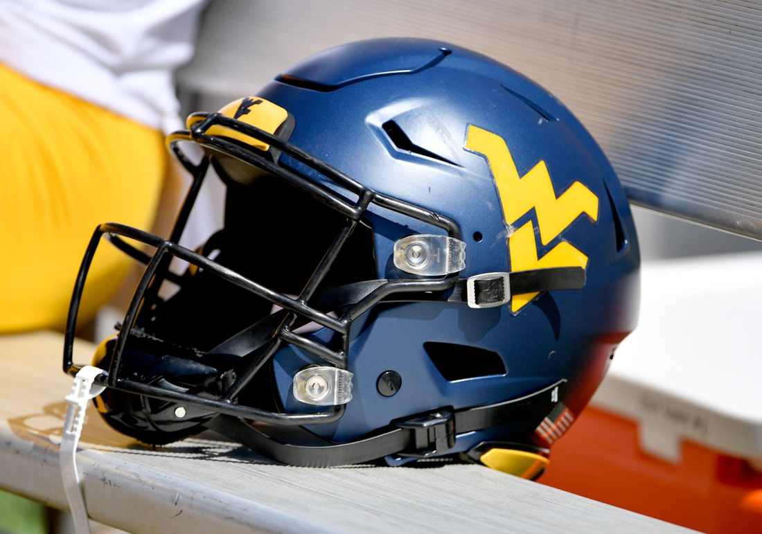 Sep 7, 2019; Columbia, MO, USA; A general view of a West Virginia Mountaineers helmet during the game against the Missouri Tigers at Memorial Stadium/Faurot Field. Mandatory Credit: Denny Medley-USA TODAY Sports