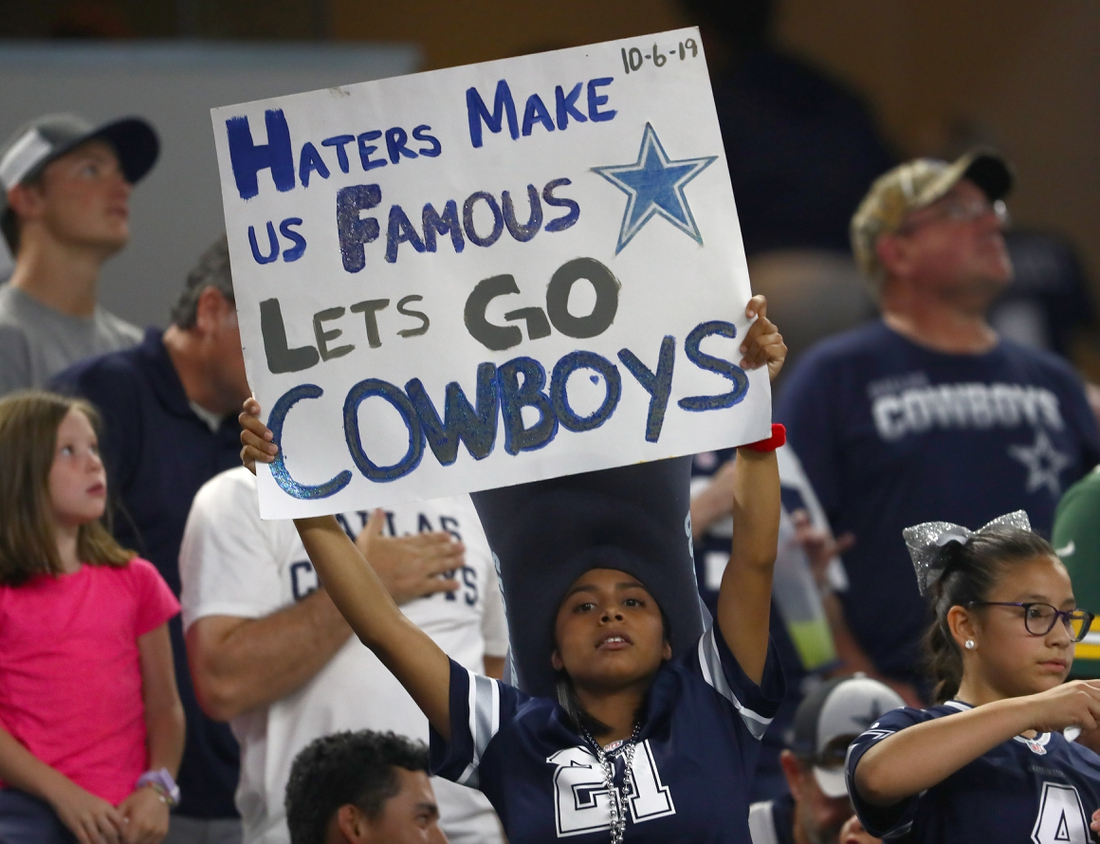 Oct 6, 2019; Arlington, TX, USA; Dallas Cowboys fan holds up a sign during the game against the Green Bay Packers at AT&T Stadium. Mandatory Credit: Matthew Emmons-USA TODAY Sports