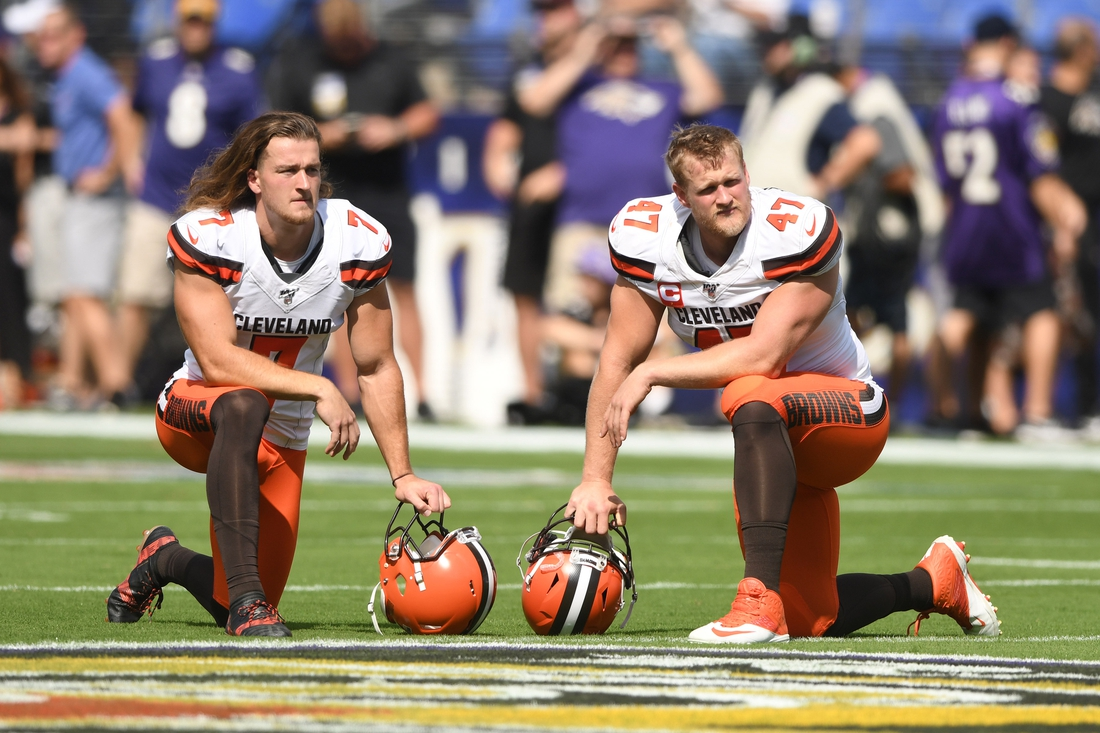 Sep 29, 2019; Baltimore, MD, USA;  Cleveland Browns punter Jamie Gillan (7) and long snapper Charley Hughlett (47) look on before a football game against the Baltimore Ravens at M&T Bank Stadium. Mandatory Credit: Mitchell Layton-USA TODAY Sports