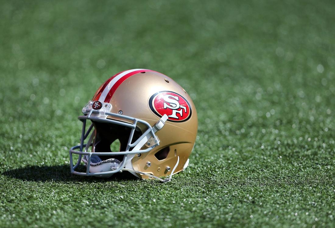 Sep 15, 2019; Cincinnati, OH, USA; San Francisco 49ers helmet during the fourth quarter against the Cincinnati Bengals at Paul Brown Stadium. Mandatory Credit: Joe Maiorana-USA TODAY Sports