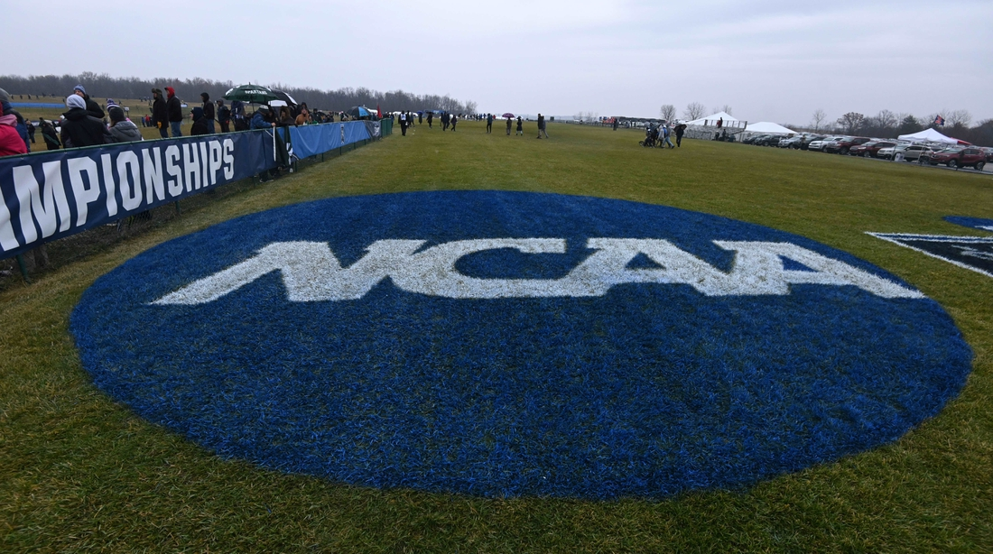 Nov 23, 2019; Terre Haute, IN, USA; Detailed view of the NCAA logo during the NCAA Cross Country Championships at the LaVern Gibson Championship Course at the Wabash Valley Family Sports Center. Mandatory Credit: Kirby Lee-USA TODAY Sports