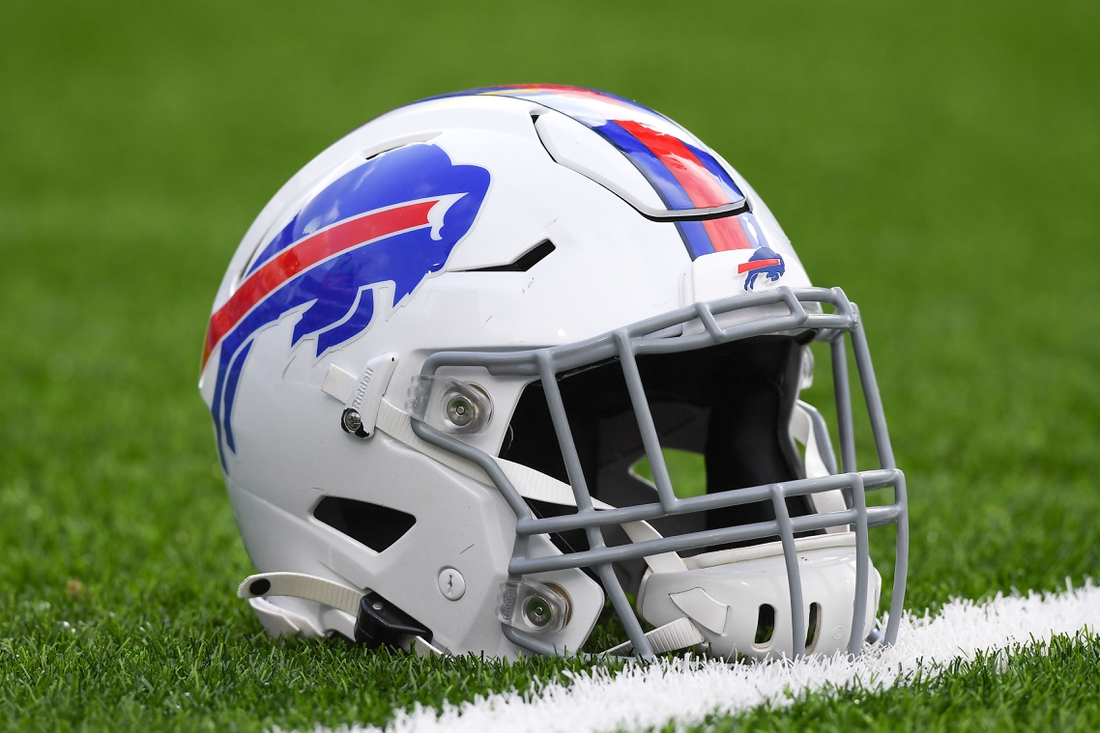 Nov 24, 2019; Orchard Park, NY, USA; General view of a Buffalo Bills helmet on the field prior to the game against the Denver Broncos at New Era Field. Mandatory Credit: Rich Barnes-USA TODAY Sports