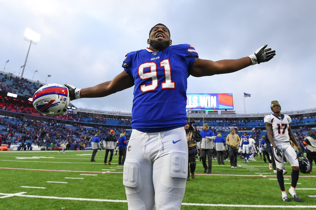 Nov 24, 2019; Orchard Park, NY, USA; Buffalo Bills defensive tackle Ed Oliver (91) celebrates while leaving the field following the game against the Denver Broncos at New Era Field. Mandatory Credit: Rich Barnes-USA TODAY Sports