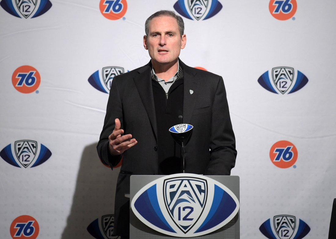 Dec 6, 2019; Santa Clara, CA, USA; Pac-12 commissioner Larry Scott speaks at a press conference during the Pac-12 Conference championship game between the Oregon Ducks and the Utah Utes at Levi's Stadium. Mandatory Credit: Kirby Lee-USA TODAY Sports