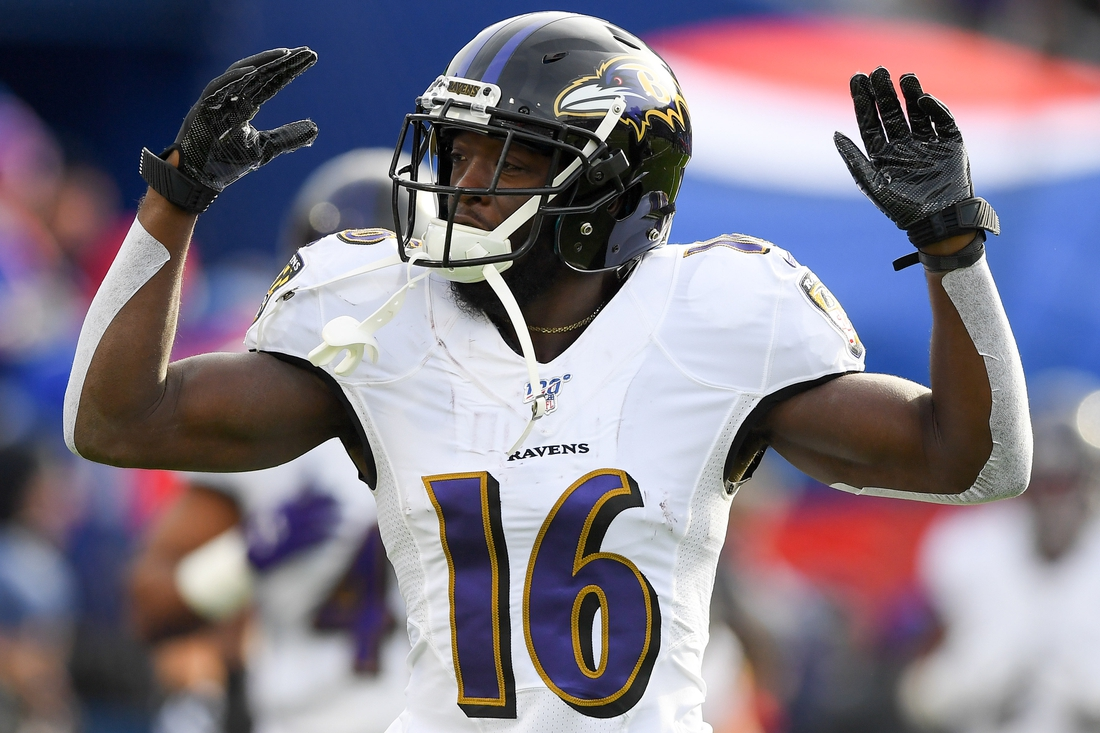 Dec 8, 2019; Orchard Park, NY, USA; Baltimore Ravens wide receiver De'Anthony Thomas (16) gestures to fans while jogging on the field prior to the game against the Buffalo Bills at New Era Field. Mandatory Credit: Rich Barnes-USA TODAY Sports