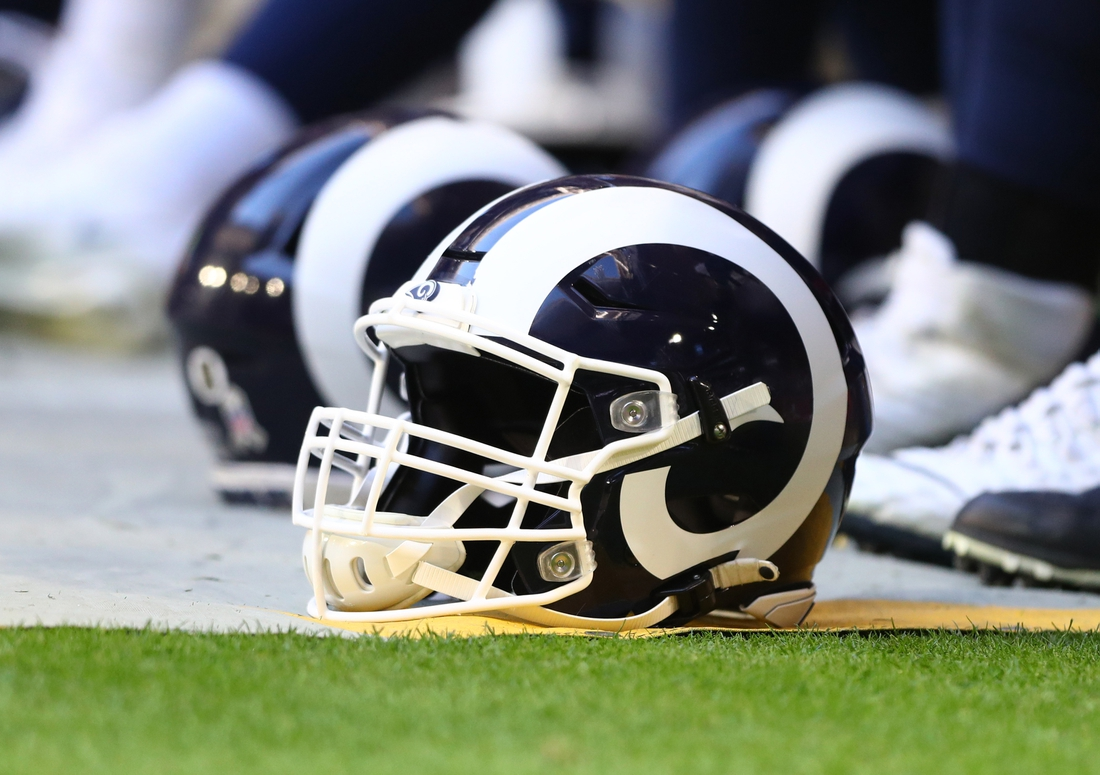 Dec 1, 2019; Glendale, AZ, USA; Detailed view of an Los Angeles Rams helmet against the Arizona Cardinals at State Farm Stadium. Mandatory Credit: Mark J. Rebilas-USA TODAY Sports