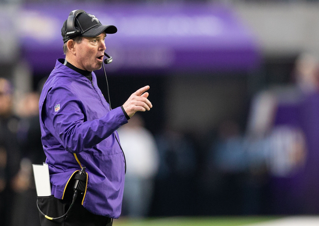 Dec 29, 2019; Minneapolis, Minnesota, USA; Minnesota Vikings head coach Mike Zimmer during the fourth quarter against the Chicago Bears at U.S. Bank Stadium. Mandatory Credit: Harrison Barden-USA TODAY Sports