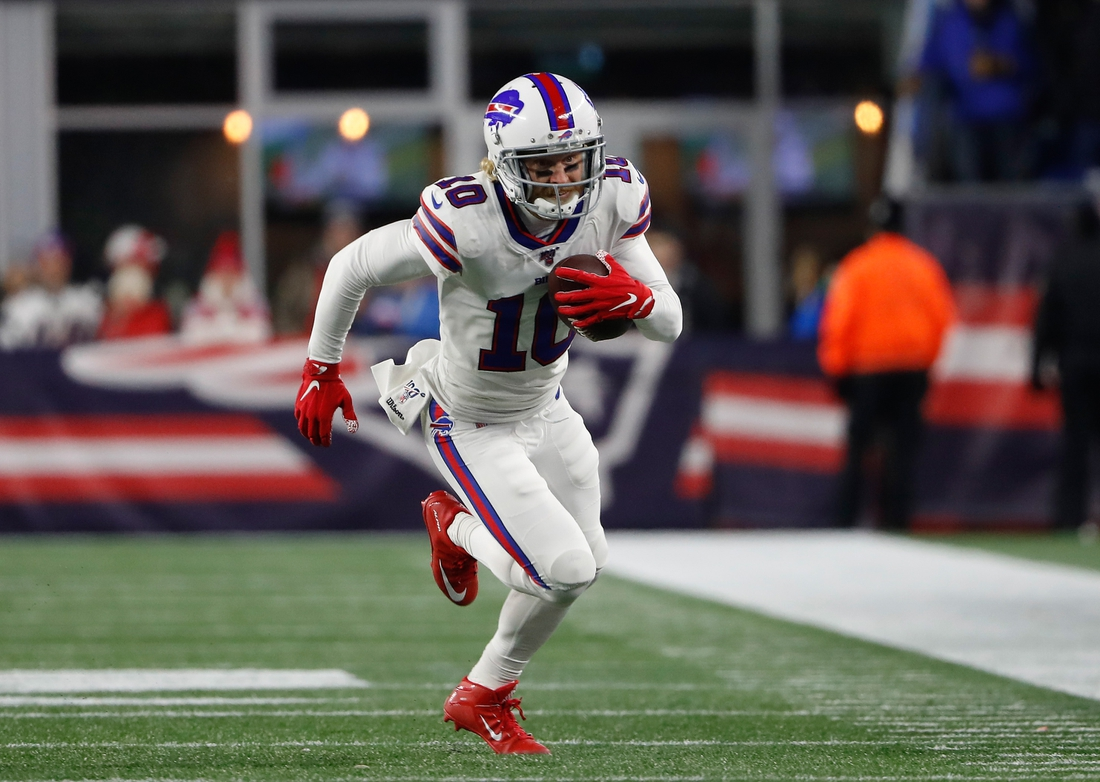 Dec 21, 2019; Foxborough, Massachusetts, USA; Buffalo Bills wide receiver Cole Beasley (10) runs against the New England Patriots during the second quarter at Gillette Stadium. Mandatory Credit: Winslow Townson-USA TODAY Sports