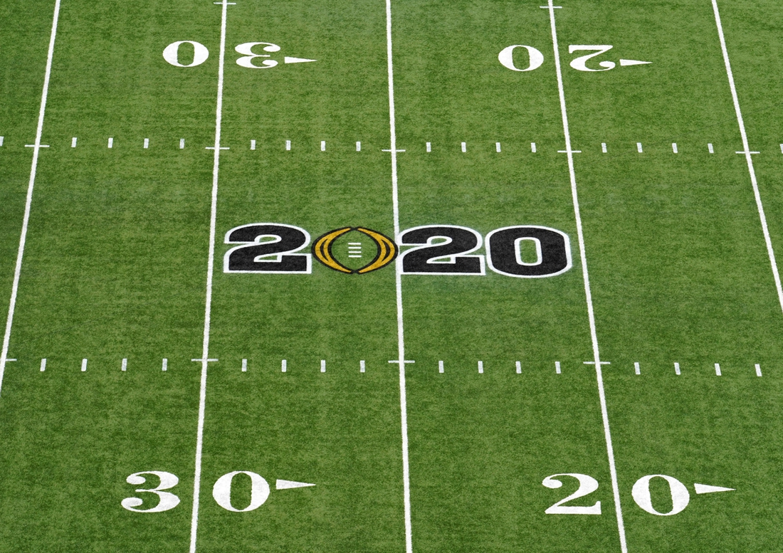 Jan 13, 2020; New Orleans, Louisiana, USA; Detailed view of the 2020 College Football Playoff National Championship logo on the field at the Mercedes-Benz Superdome. Mandatory Credit: Kirby Lee-USA TODAY Sports