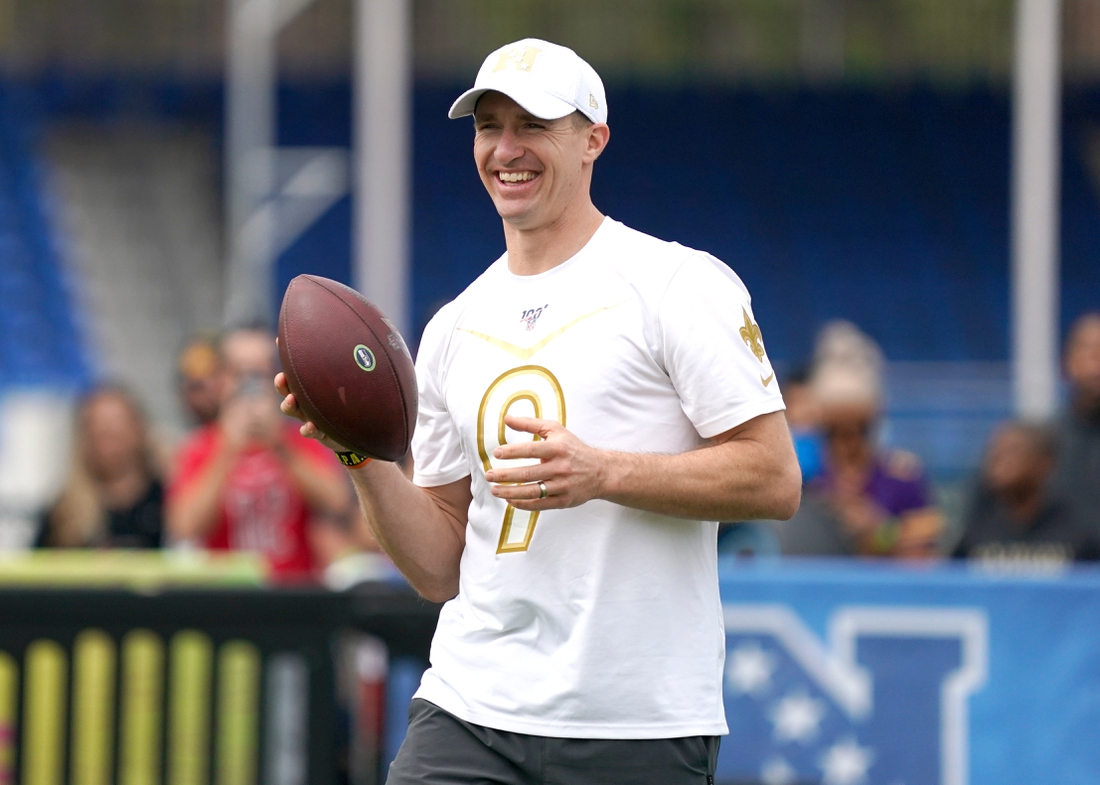 Jan 23, 2020; Kissimmee, Florida, USA; New Orleans Saints quarterback Drew Brees (9) during NFC practice at ESPN Wide World of Sports. Mandatory Credit: Kirby Lee-USA TODAY Sports