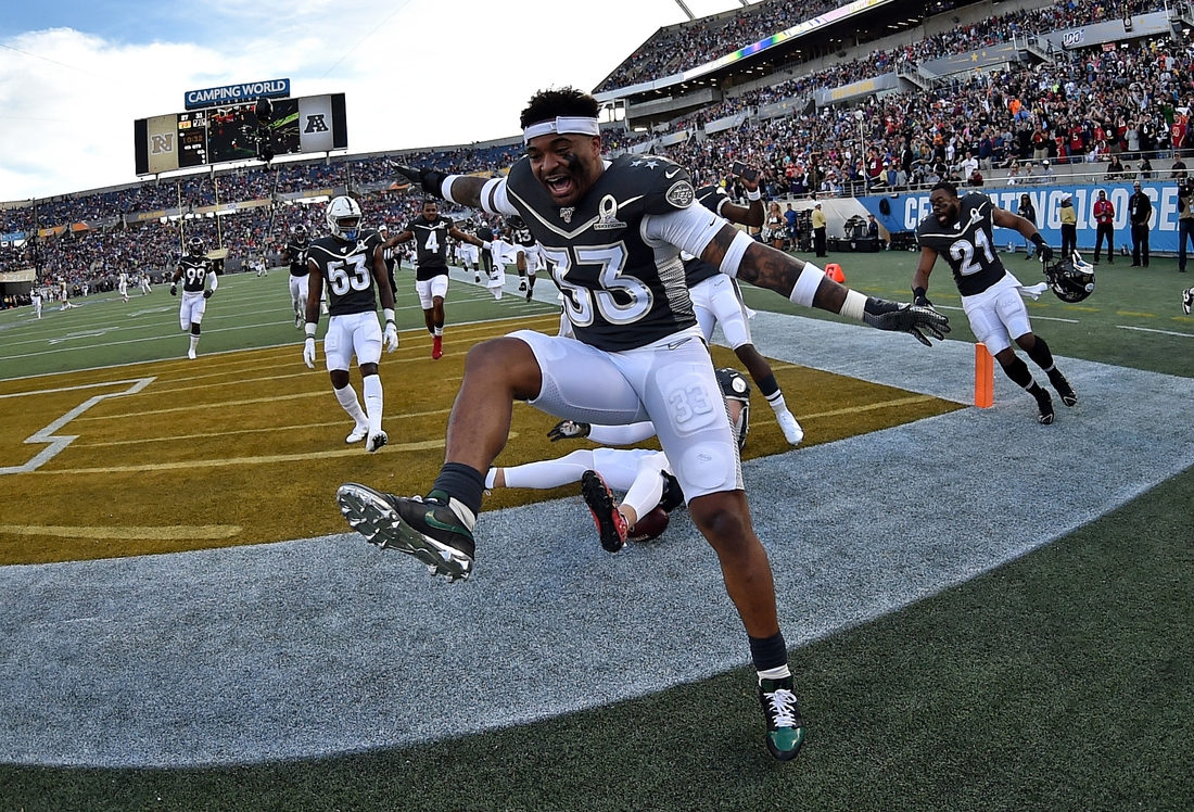 Jan 26, 2020; Orlando, Florida, USA; AFC safety Jamal Adams of the New York Jets (33) celebrates in the 2020 NFL Pro Bowl at Camping World Stadium. Mandatory Credit: Steve Mitchell-USA TODAY Sports