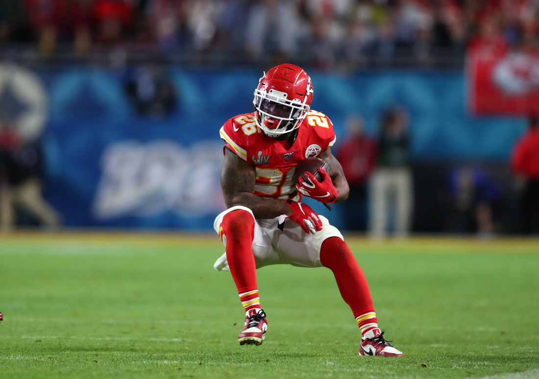 Feb 2, 2020; Miami Gardens, Florida, USA; Kansas City Chiefs running back Damien Williams (26) against the San Francisco 49ers in Super Bowl LIV at Hard Rock Stadium. Mandatory Credit: Mark J. Rebilas-USA TODAY Sports