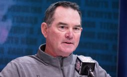 Feb 26, 2020; Indianapolis, Indiana, USA; Minnesota Vikings coach Mike Zimmer speaks during the NFL Scouting Combine at the Indiana Convention Center. Mandatory Credit: Kirby Lee-USA TODAY Sports