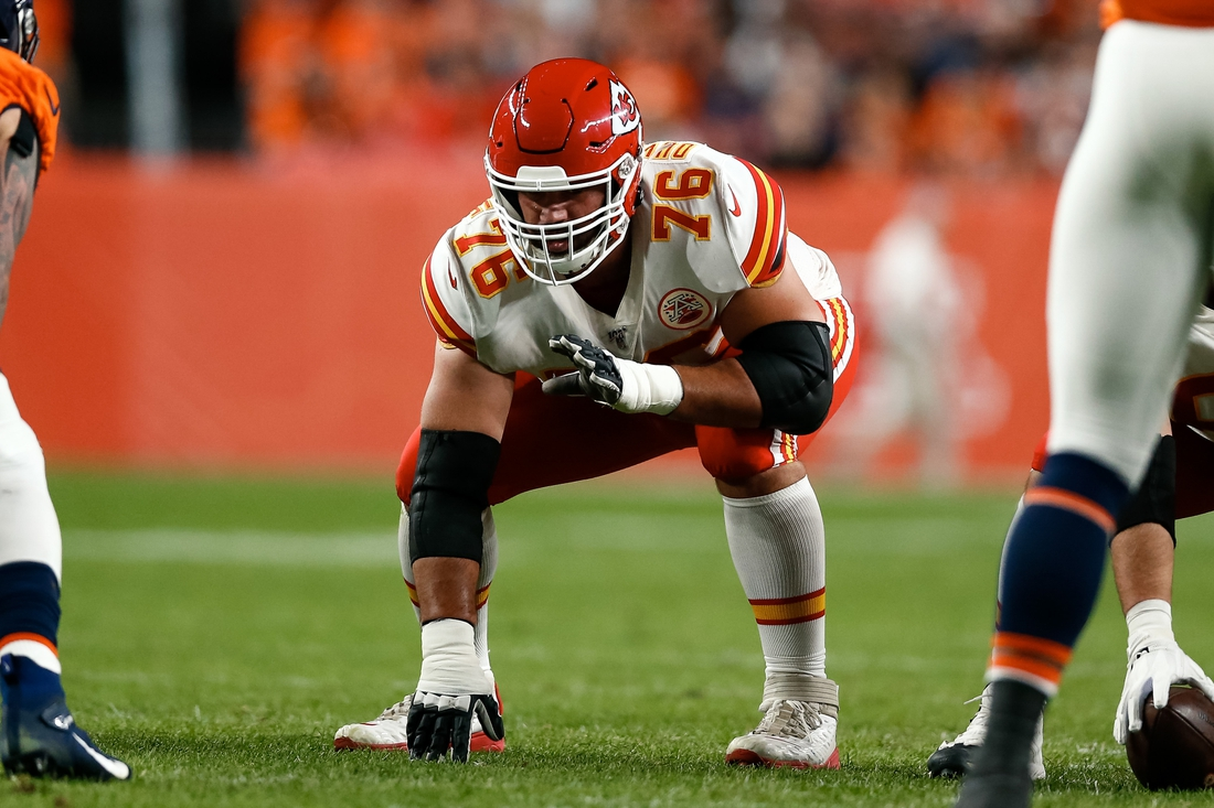 Oct 17, 2019; Denver, CO, USA; Kansas City Chiefs offensive guard Laurent Duvernay-Tardif (76) in the first quarter against the Denver Broncos at Empower Field at Mile High. Mandatory Credit: Isaiah J. Downing-USA TODAY Sports