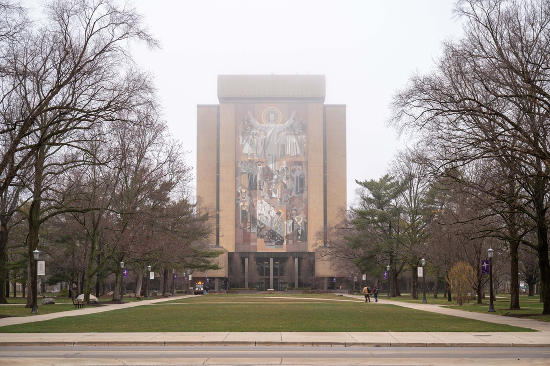 Mar 19, 2020; Notre Dame, Indiana, USA; General view of the Word of Life Mural, commonly known as Touchdown Jesus, on the University of Notre Dame campus. Mandatory Credit: Matt Cashore-USA TODAY NETWORK