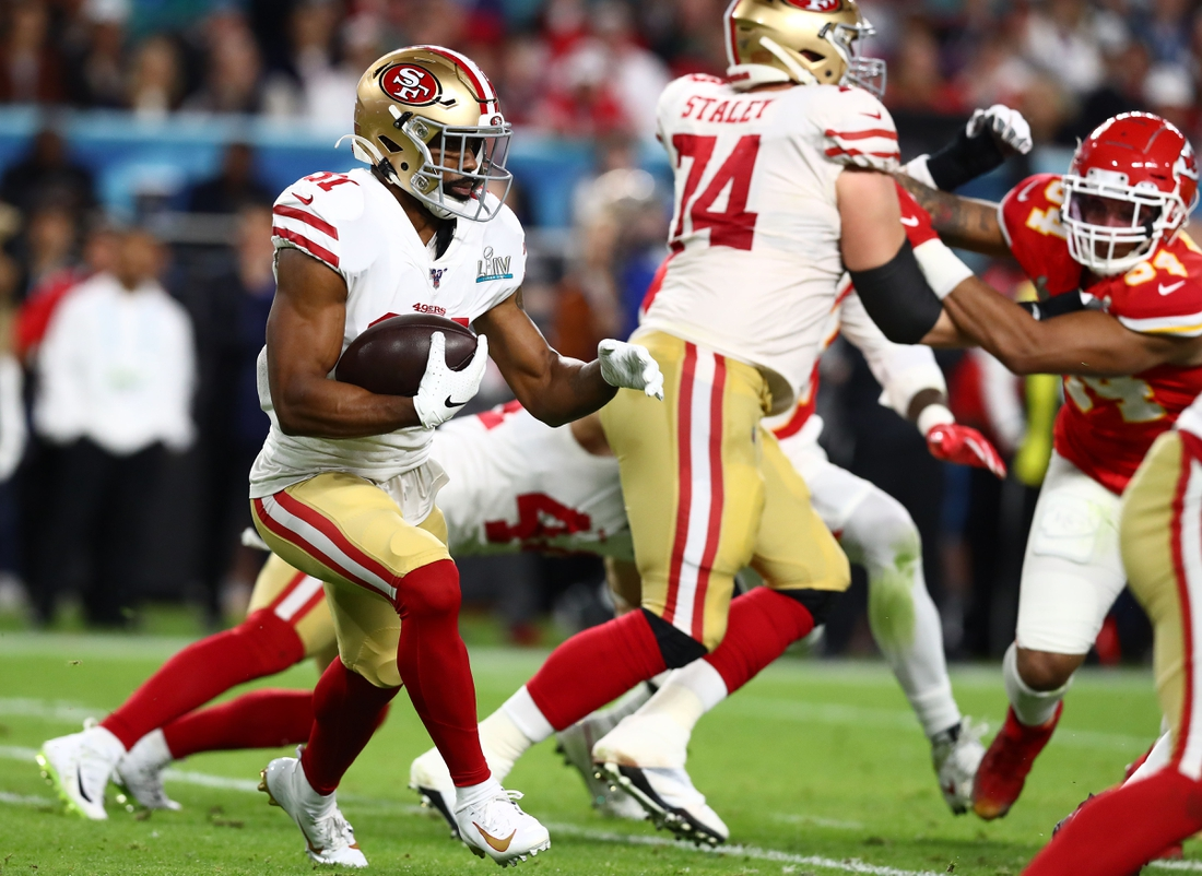 Feb 2, 2020; Miami Gardens, Florida, USA; San Francisco 49ers running back Raheem Mostert (31) runs with the ball against the Kansas City Chiefs in Super Bowl LIV at Hard Rock Stadium. Mandatory Credit: Matthew Emmons-USA TODAY Sports