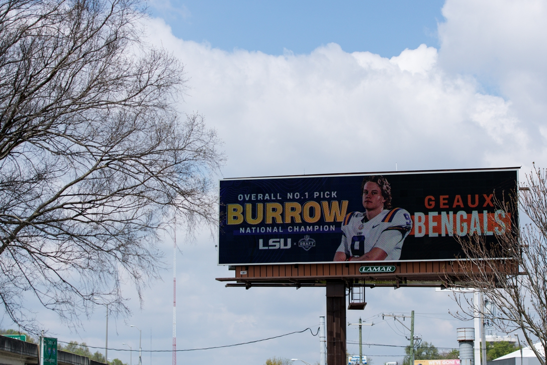 Apr 24, 2020; Cincinnati, Ohio, USA;  A view of a billboard on Interstate 75 North welcoming LSU quarterback Joe Burrow to Cincinnati, after being selected number one overall in the 2020 NFL Draft. Mandatory Credit: Aaron Doster-USA TODAY Sports