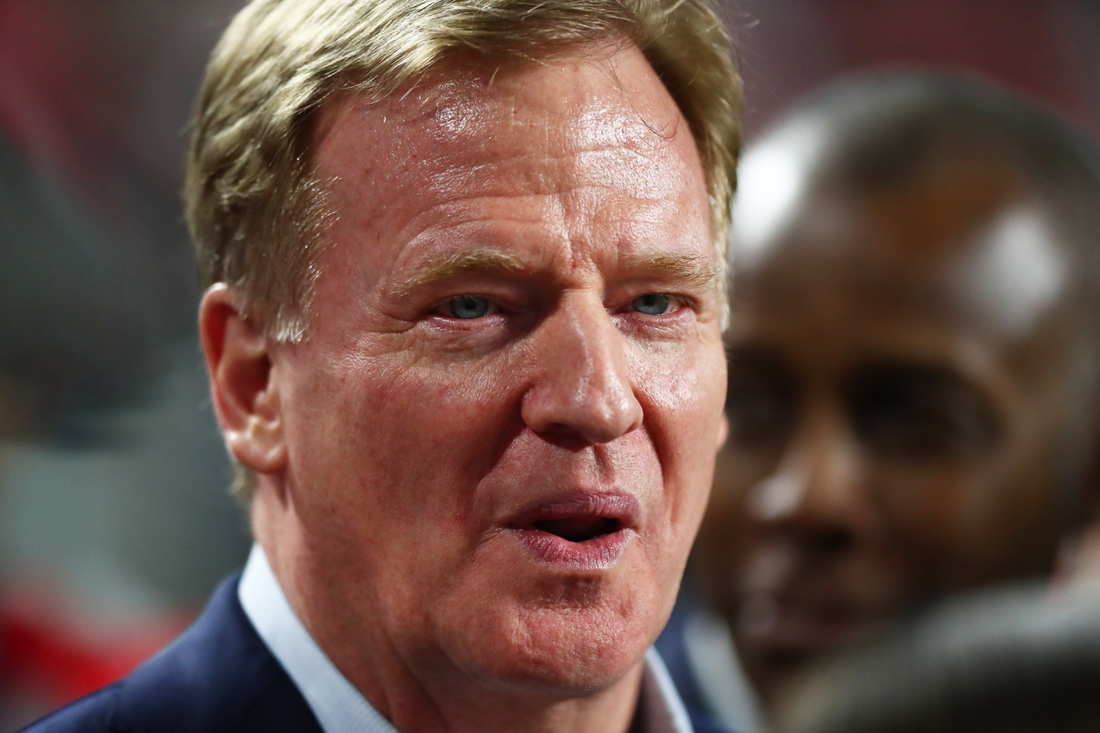 Feb 2, 2020; Miami Gardens, Florida, USA; NFL commissioner Roger Goodell during Super Bowl LIV between the Kansas City Chiefs and San Francisco 49ers at Hard Rock Stadium. Mandatory Credit: Mark J. Rebilas-USA TODAY Sports