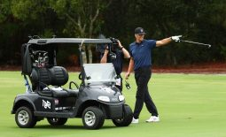 May 24, 2020; Hobe Sound, FL, USA; NFL player Tom Brady of the Tampa Bay Buccaneers reacts after holing out from the fairway on the seventh during The Match: Champions for Charity golf round at the Medalist Golf Club.  Mandatory Credit: Handout Photo by Getty Images for The Match via USA TODAY Sports