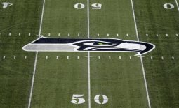Aug 25, 2017; Seattle, WA, USA; General overall view of Seattle Seahawks logo at CenturyLink Field during a NFL football game against the Kansas City Chiefs. Mandatory Credit: Kirby Lee-USA TODAY Sports