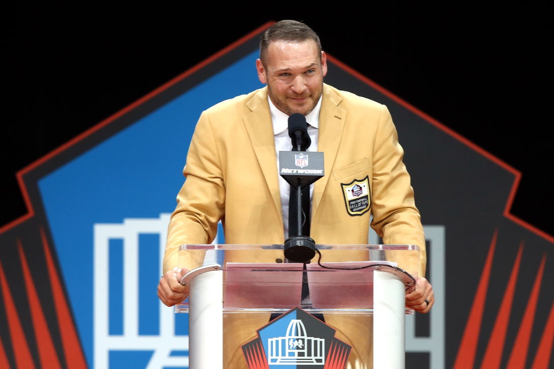 Aug 4, 2018; Canton, OH, USA; Pro Football Hall of Fame Class of 2018 enshrinee Brian Urlacher during the Pro Football Hall of Fame Enshrinement Ceremony at Tom Bensen Stadium. Mandatory Credit: Aaron Doster-USA TODAY Sports