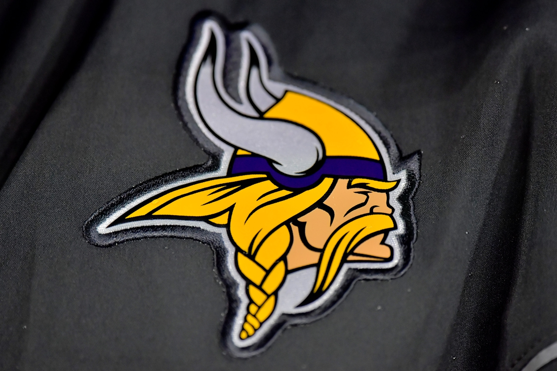 Aug 30, 2018; Nashville, TN, USA; Minnesota Vikings logo on the sideline during the second half against the Tennessee Titans at Nissan Stadium. Mandatory Credit: Jim Brown-USA TODAY Sports