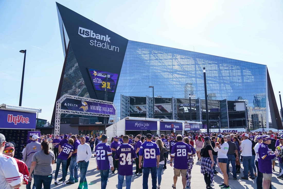 Sep 9, 2018; Minneapolis, MN, USA; A general view of the exterior of U.S. Bank Stadium prior to the game between the Minnesota Vikings and San Francisco 49ers. Mandatory Credit: Brace Hemmelgarn-USA TODAY Sports