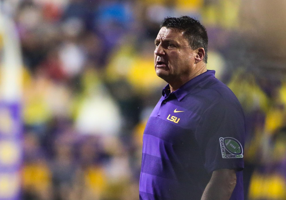 Sep 29, 2018; Baton Rouge, LA, USA; LSU Tigers head coach Ed Orgeron against the Mississippi Rebels during the second half of a game at Tiger Stadium. Mandatory Credit: Derick E. Hingle-USA TODAY Sports