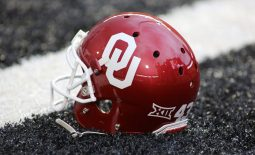 Nov 3, 2018; Lubbock, TX, USA; An Oklahoma Sooners helmet sits in the end zone before the game against the Texas Tech Red Raiders at Jones AT&T Stadium. Mandatory Credit: Michael C. Johnson-USA TODAY Sports