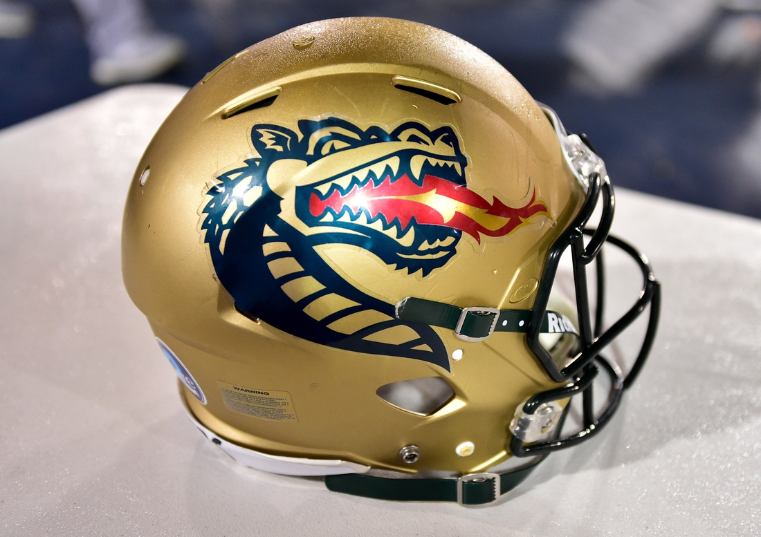 Dec 18, 2018; Boca Raton, FL, USA; A UAB Blazers helmet is seen on a table during the second half against the Northern Illinois Huskies in the 2018 Boca Raton Bowl at FAU Stadium. Mandatory Credit: Steve Mitchell-USA TODAY Sports