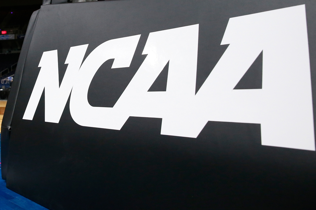 Mar 29, 2019; Albany , NY, USA; General view of a NCAA logo prior to an Albany regional semifinal game of the women's 2019 NCAA Tournament between the UCLA Bruins and the UConn Huskies at the Times Union Center. Mandatory Credit: Rich Barnes-USA TODAY Sports