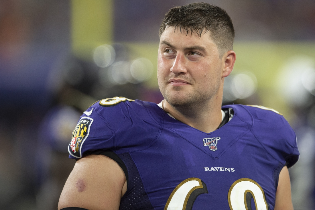 Aug 8, 2019; Baltimore, MD, USA; Baltimore Ravens center Matt Skura (68) stands in the bench area during the second quarter against the Jacksonville Jaguars at M&T Bank Stadium. Mandatory Credit: Tommy Gilligan-USA TODAY Sports