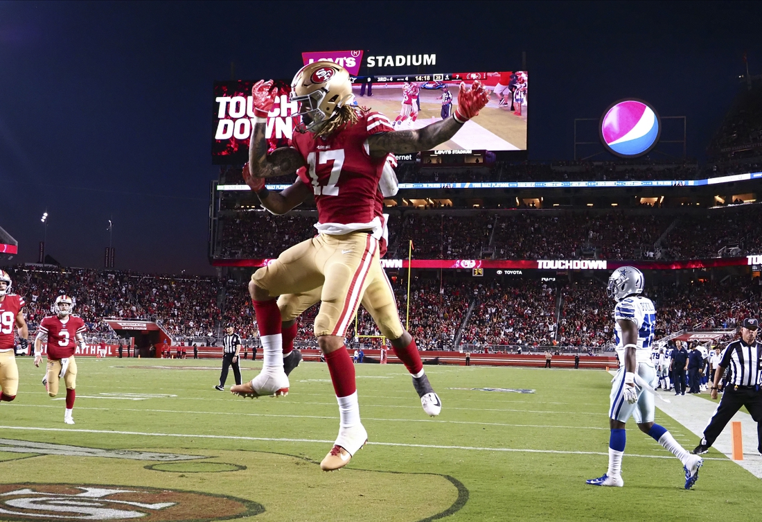 Aug 10, 2019; Santa Clara, CA, USA; San Francisco 49ers wide receiver Jalen Hurd (17) celebrates after a touchdown against the Dallas Cowboys during the fourth quarter at Levi   s Stadium. Mandatory Credit: Kelley L Cox-USA TODAY Sports