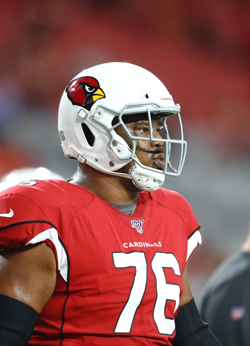 Aug 8, 2019; Glendale, AZ, USA; Arizona Cardinals offensive tackle Marcus Gilbert (76) during a preseason game against the Los Angeles Chargers at State Farm Stadium. Mandatory Credit: Mark J. Rebilas-USA TODAY Sports