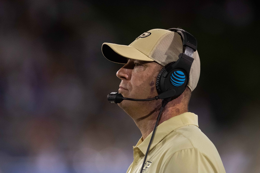 Aug 30, 2019; Reno, NV, USA; Purdue Boilermakers head coach Jeff Brohm on the sidelines against the Nevada Wolf Pack during the fourth quarter at Mackay Stadium. Mandatory Credit: David Calvert-USA TODAY Sports