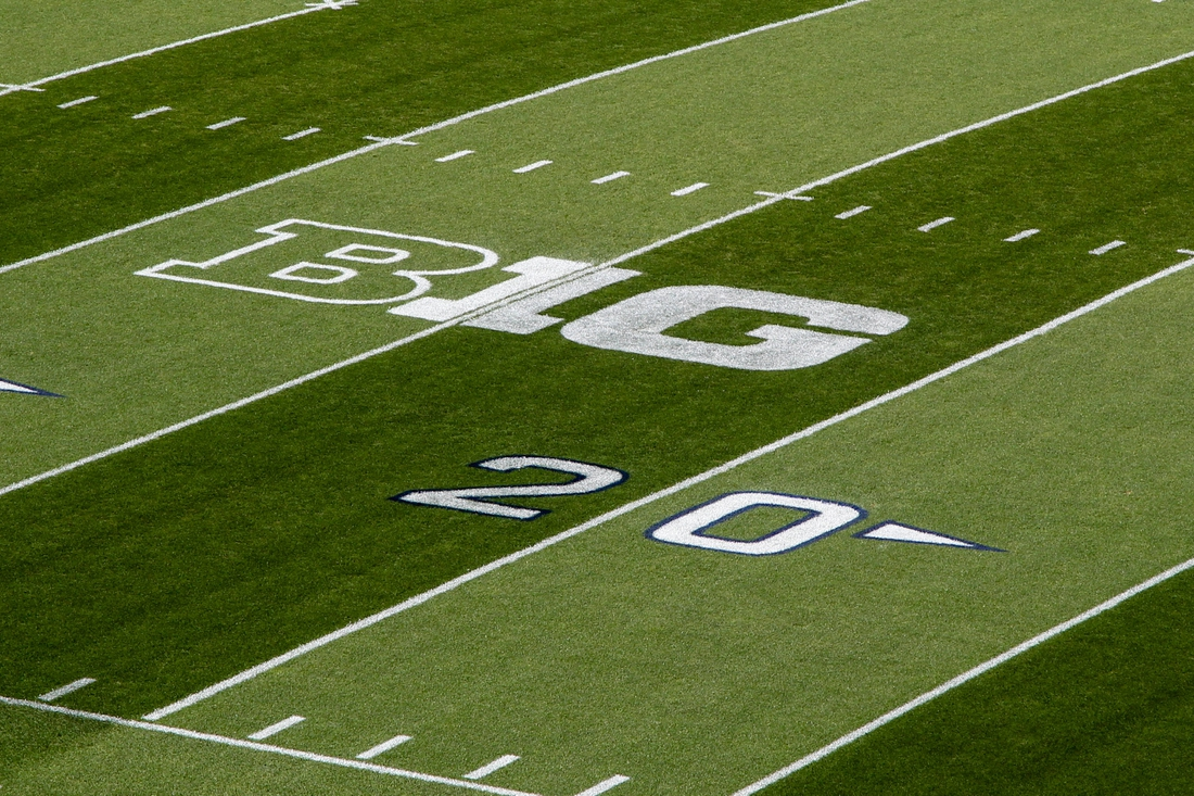 Sep 7, 2019; University Park, PA, USA; A general view of the Big Ten logo prior to the game between the Buffalo Bulls  and the Penn State Nittany Lions at Beaver Stadium. Mandatory Credit: Matthew O'Haren-USA TODAY Sports