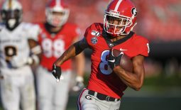 Sep 7, 2019; Athens, GA, USA; Georgia Bulldogs wide receiver Dominick Blaylock (8) runs for a touchdown against the Murray State Racers during the second half at Sanford Stadium. Mandatory Credit: Dale Zanine-USA TODAY Sports