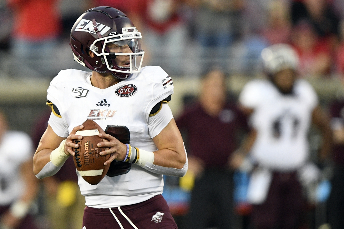 Sep 7, 2019; Louisville, KY, USA; Eastern Kentucky Colonels quarterback Conor Blount (10) looks to pass the ball against the Louisville Cardinals during second quarter at Cardinal Stadium. Mandatory Credit: Jamie Rhodes-USA TODAY Sports