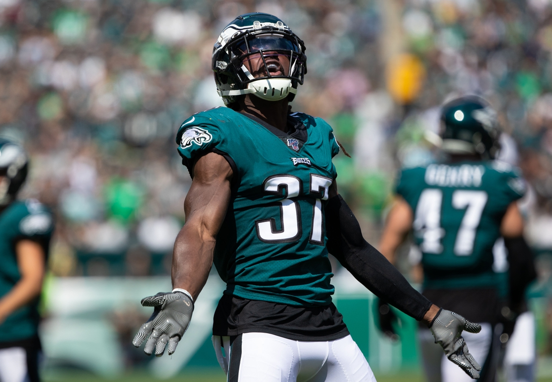 Sep 8, 2019; Philadelphia, PA, USA; Philadelphia Eagles defensive back Johnathan Cyprien (37) reacts after the opening kick off against the Washington Redskins during the first quarter at Lincoln Financial Field. Mandatory Credit: Bill Streicher-USA TODAY Sports