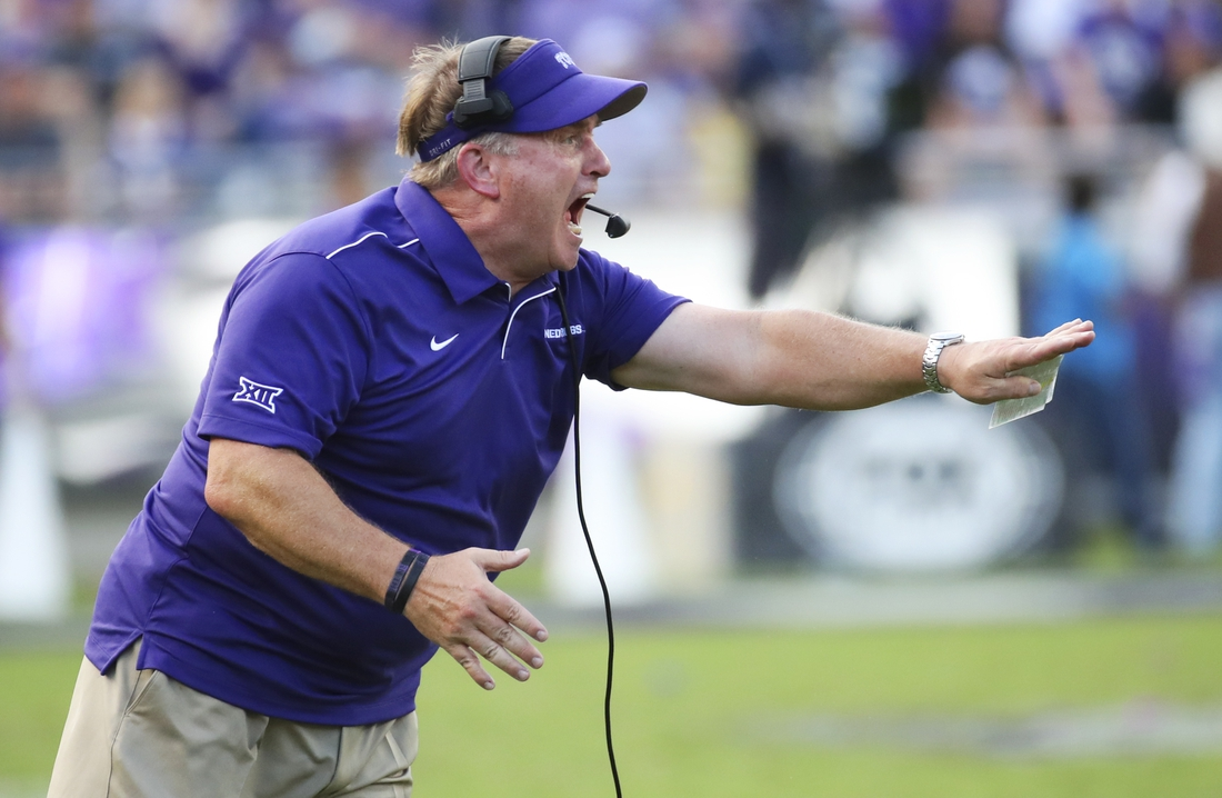 Sep 21, 2019; Fort Worth, TX, USA; TCU Horned Frogs head coach Gary Patterson reacts during the second half against the Southern Methodist Mustangs at Amon G. Carter Stadium. Mandatory Credit: Kevin Jairaj-USA TODAY Sports