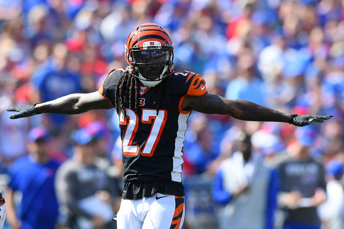 Sep 22, 2019; Orchard Park, NY, USA; Cincinnati Bengals cornerback Dre Kirkpatrick (27) gestures to a defensive play against the Buffalo Bills during the second quarter at New Era Field. Mandatory Credit: Rich Barnes-USA TODAY Sports