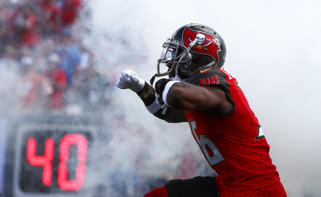 Sep 22, 2019; Tampa, FL, USA; Tampa Bay Buccaneers cornerback M.J. Stewart (36) runs out of the tunnel period to the game at Raymond James Stadium. Mandatory Credit: Kim Klement-USA TODAY Sports