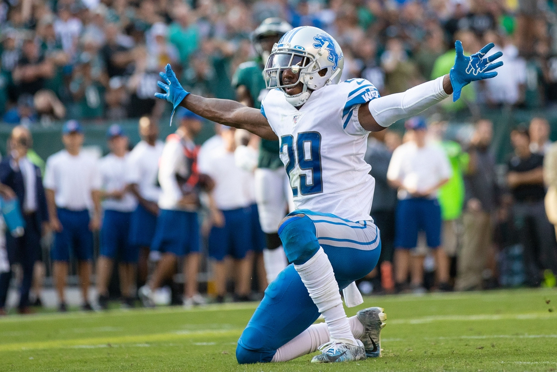 Sep 22, 2019; Philadelphia, PA, USA; Detroit Lions cornerback Rashaan Melvin (29) reacts to a defensive stop against the Philadelphia Eagles at Lincoln Financial Field. Mandatory Credit: Bill Streicher-USA TODAY Sports