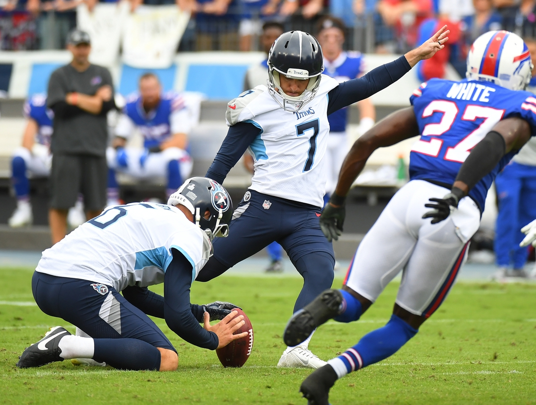 Oct 6, 2019; Nashville, TN, USA; Tennessee Titans kicker Cairo Santos (7) misses his first of two field goals during the first half against the Buffalo Bills at Nissan Stadium. Mandatory Credit: Christopher Hanewinckel-USA TODAY Sports