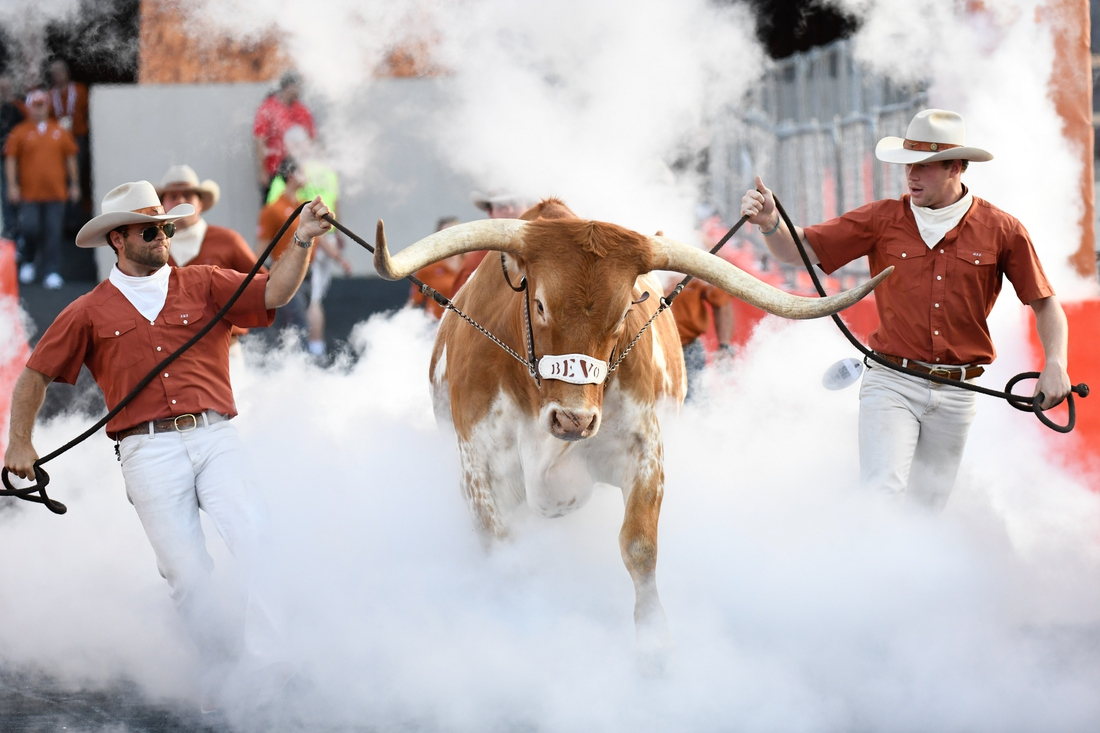 Oct 19, 2019; Austin, TX, USA; Texas Longhorns live mascot Bevo introduced to crowd before game against Kansas Jayhawks at Darrell K Royal-Texas Memorial Stadium. Mandatory Credit: Scott Wachter-USA TODAY Sports